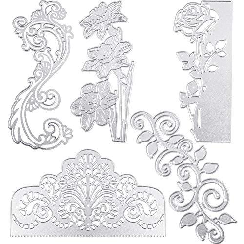 5 troqueles metálicos de corte de flores de encaje para invitaciones de boda, troqueles de corte de flores de metal, plantillas de repujado para álbumes de recortes, tarjetas, manualidades