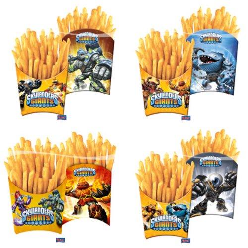 4 Pommes-Box * SKYLANDERS GIANTS * aus Pappe für Party und Geburtstag // Kinder Geburtstag Party Fete Set Skylander Monster Fritten Einweg Geschirr