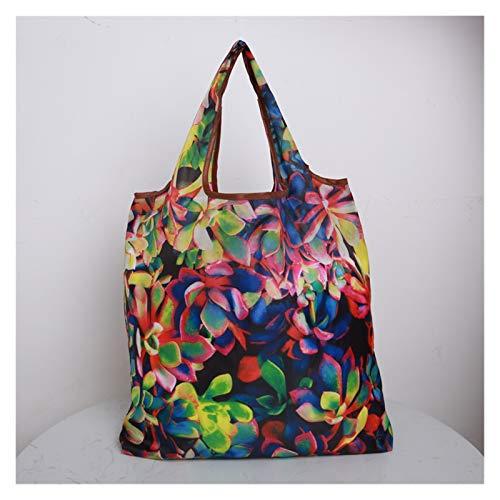 LXX Bolsa de Tiendas con Color Eco Reutilizable Compras Bolsa de Asas de Dibujos Animados Fruta Floral Vegetal Top Bags Bolsas de Asas 1pcs (Color : New 5)