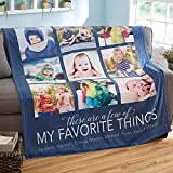 Personalized Name Blanket for Grandma, Custom Blanket with Name and Photo Collages, Throw Blanket Adult Baby Fleece Unique, Gift for Daughter, Son, Couples Anniversary, Blankets for Family Birthday