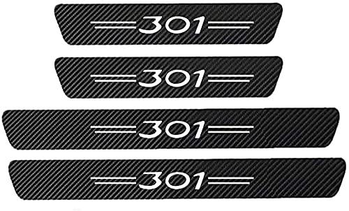 4 Piezas Fibra Carbono Tiras Umbral Protector para Peugeot 301, Tiras Umbral Antideslizante Antiarañazos Coche Estilo Accesorios