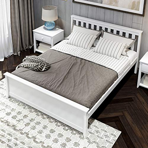 Plank & Beam Solid Wood Queen-Size Bed, White