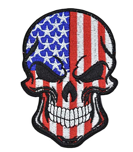 Tactical Military Morale Patch Best Quality Embroidered Skull Flag Patches Perfect for Hats Jackets Backpacks Collect(Blue)