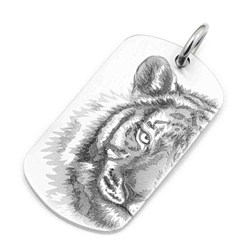 linsion alto detalles realistas Tigre Dogtag grabado para hombre motorista colgante Jewerly 9x 112-jp