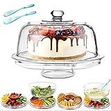 6 in 1 multifunzionale alzata per torta con coperchio in plastica alzata con cupola per dolci plastica e 2 cucchiaio da insalata addizionale cake stand with dome,diametro:30.4 cm masthome
