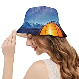 Unisex 100% Cotton Packable Summer Travel Bucket Beach Sun Hat Camping Tent Under a Night Sky Full of Stars Holiday Adventure Exploring Outdoors