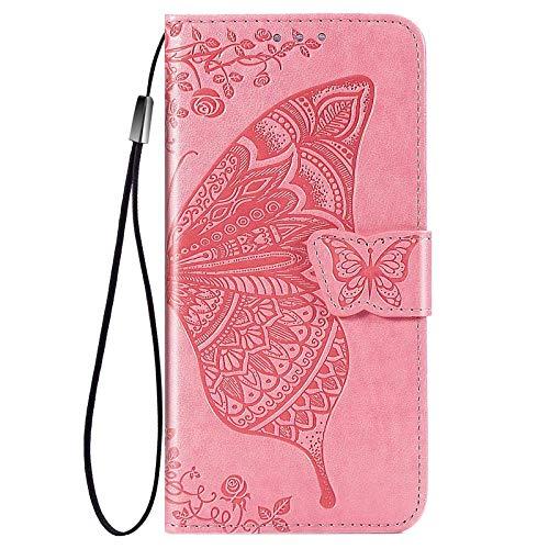 GOGME Hülle für Motorola Moto G30 / Moto G10 Hülle, Schmetterling Geprägtem PU/TPU Leder Magnetische Filp Handyhülle mit Kartensteckplätzen/Standfunktion, Anti-Rutsch Schutzhülle. Pink