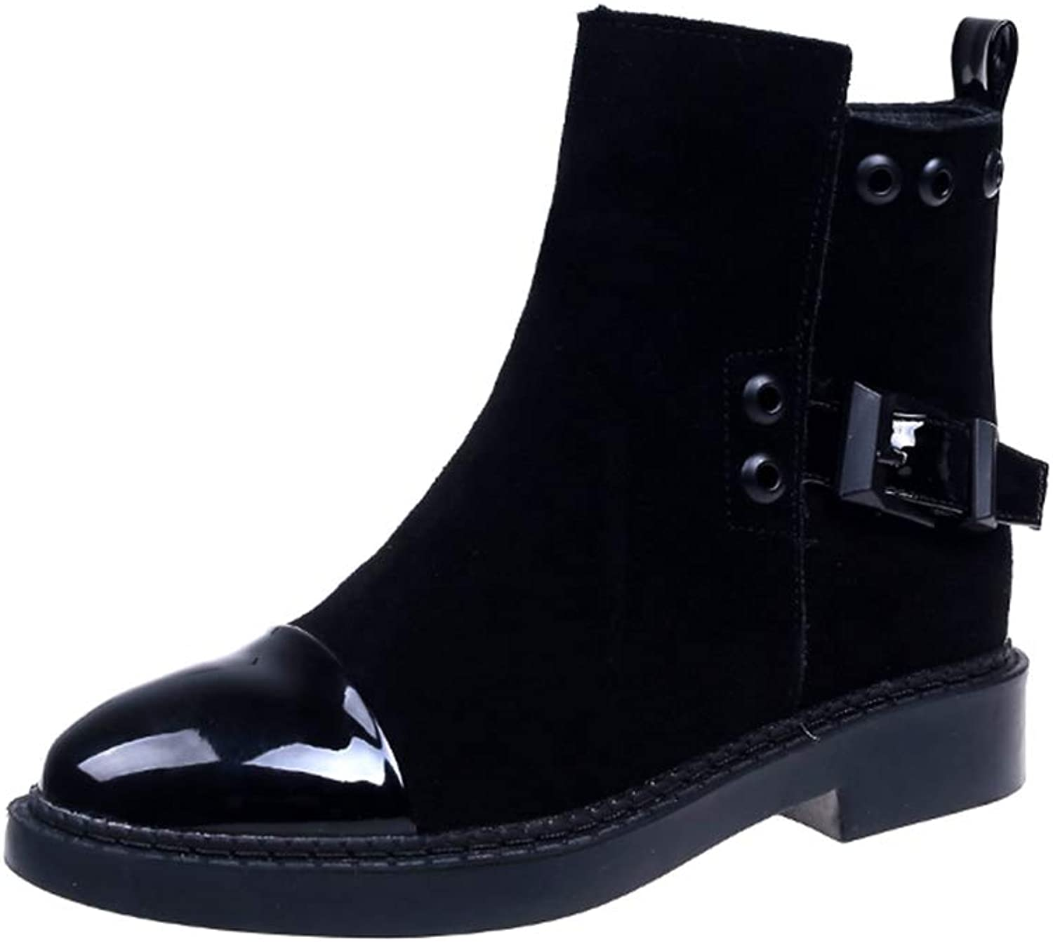 Hoxekle Ankle Boot Suede Buckle Zipper Women Short Leather Motorcycle Style Winter Casual shoes