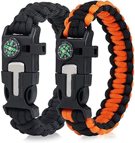 YINOX Survival Paracord Armbanden EDC Tactische Armband, Multifunctionele Camping Wandelen Gear met Kompas, Fire Starter, Fluit en Emergency Mes voor Outdoor -2 Pack