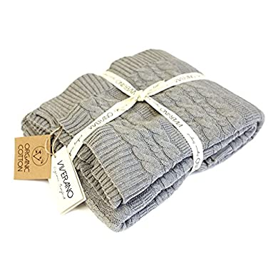 Viverano 100% Organic Cotton Cable Knit Throw Blanket (50 x70 ) Super Soft Warm Luxurious All-Season Non-Toxic Eco-Friendly (Grey)