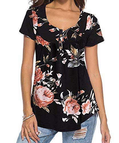 DEMO SHOW Damen Tunika Top Locker Langarm V Ausschnitt Knopfleiste Plissiert Floral Henley Shirt Bluse T Shirt (Schwarz 01, S)