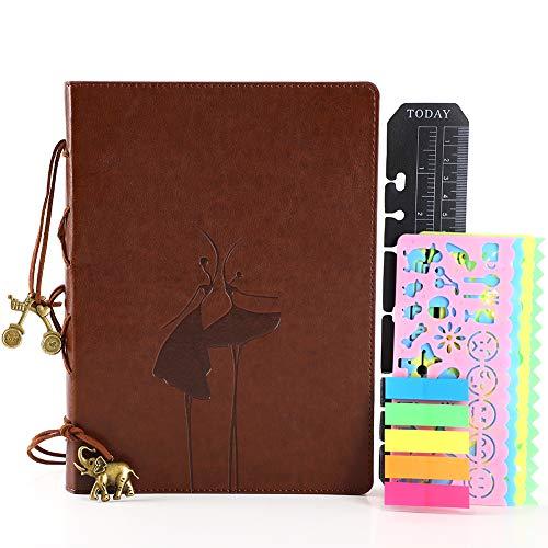 Bullet Dot Journal Puntos A5 Vintage Cuero Tapa Dura Libreta Bonitas con Accesorio Cuaderno Punteado Diario de Viaje Notebook Organizador Anillas Recargable Regalo infantil Mujer Bailarín-2 Marrón