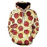 LLYA Invierno Casual Hoodie Unisex 3D Streetwear Queso Salchicha Pizza Sudaderas Sudaderas Pullovers Funny Sudaderas,L