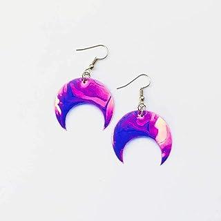 Orecchini Lune - Rockabilly gioielli - Accessori luna - Novità orecchini - Orecchini olografici - Orecchini lune iridescen...