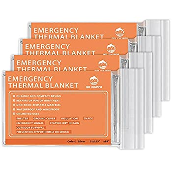 QIO CHUANG Emergency Mylar Thermal Blankets -Space Blanket Survival kit Camping Blanket  4-Pack  Perfect for Outdoors Hiking Survival Bug Out Bag ,Marathons or First Aid 1