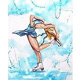 Chica de patinaje Chica de baile Pintura de diamantes Cuadrado completo/Taladro redondo Bordado de diamantes Costura Mosaico Imagen Regalo Decoración para el hogar,30x40cm