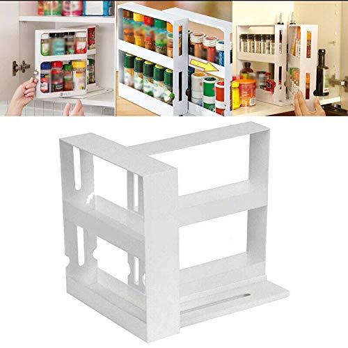 Jecenka Organizador giratorio de especias de 2 capas giratorio, para condimentos, tarros de especias, estante de almacenamiento organizador de cocina para camping