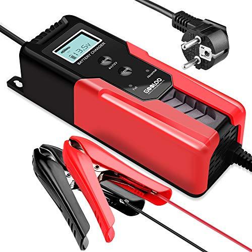 GOOLOO Batterieladegerät KFZ 6V/12V 6A Vollautomatisches Intelligentes Erhaltungsladegerät mit LCD-Bildschirm für Autobatterie,Motorradbatterie, PKW mit Komfortstecke, Ringösenkabel,Batterieklemmen