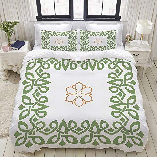DAOPUDA Duvet Cover King Size Nostalgic Celtic Art Inspired Square Shape Frame Print with A Flower in The Centre 3pc Bedding Set (1 Duvet Cover and 2 Pillow Shams) 104'x90'