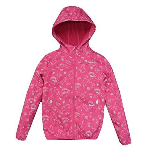 Outburst - Mädchen Softshelljacke Regenjacke Winddicht und Wasserdicht 10.000mm Wassersäule Einhorn, pink - 8424004, Größe 98