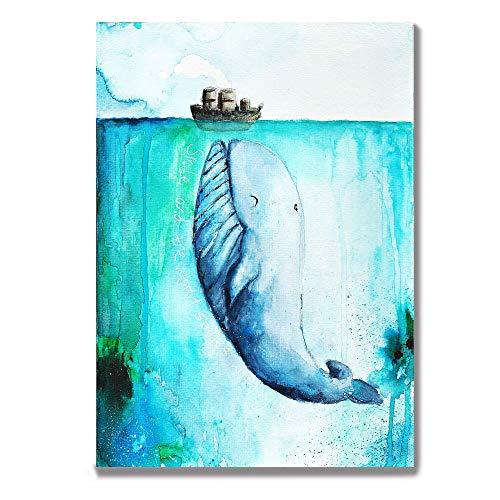 Tiny Tami Aquarell Wal Postkarte Buckelwal Geburtstagskarte Ozean Grußkarte Geschenkidee Moby Dick