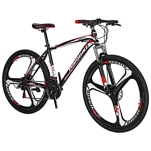 jooe Mountain Bike, Bicicletta Sportiva da Montagna da 27.5 Pollici A 21 velocità, Telaio in Acciaio al Carbonio, Sospensione Forcella Anteriore con Funzione di Bloccaggio, Freni A Doppio Disco,Red