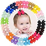 Tiny Hair Clips Grosgrain cinta del arco del pelo pinzas de cocodrilo para bebés recién nacidos niños pequeños 40pcs