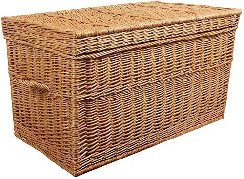 weeco Truhe aus Weide braun, Korbtruhe 60cm. Weidenkorb, Weidentruhe Koffer Rattan Wäschetruhe Wäschekorb
