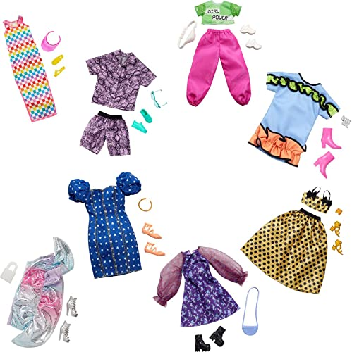 Barbie Clothes Multipack with 8 Complete Outfits for Barbie Doll, 25+ Pieces Include 8 Outfits, 8 Pairs of Shoes & 8 Accessories, Gift for 3 to 8 Year Olds