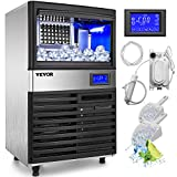VEVOR 110V Commercial ice Maker 155LBS/24H with 44LBS Bin and Electric Water Drain Pump, Clear Cube,...