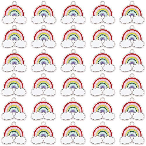 SUNNYCLUE 1 Box 30Pcs Enamel Rainbow Charms Rainbow and Cloud Charms Pendants Bulk for Bracelet Necklaces Jewelry Making Crafting Supplies Accessory