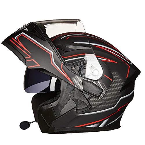 Casco Bluetooth para Motocicleta, Casco Modular, Casco Abatible, Casco Integral, Casco Plegable De Cara Abierta con Doble Lente, Casco De ProteccióN De Carreras Certificado por Dot