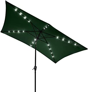 Yescom 10x6.5ft Rectangle Outdoor Patio Beach Market Aluminium Umbrella Sun Shade Solar Powered Led Light Crank Tilt (Green)