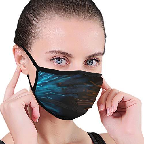 N/A Mond Masker Blauw Goud Deeltje Behang Volwassen Unisex Wasbaar Herbruikbaar Polyester Anti Stof Mond Mask In Packs