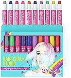 Girlzone Regalos para Niñas Tizas para el pelo 10 Tizas de Color Lavables Fácil Usar: 10 Colores Metálicos Hair Chalk for Girls Regalo de Cumpleaños 3 a 12 Años