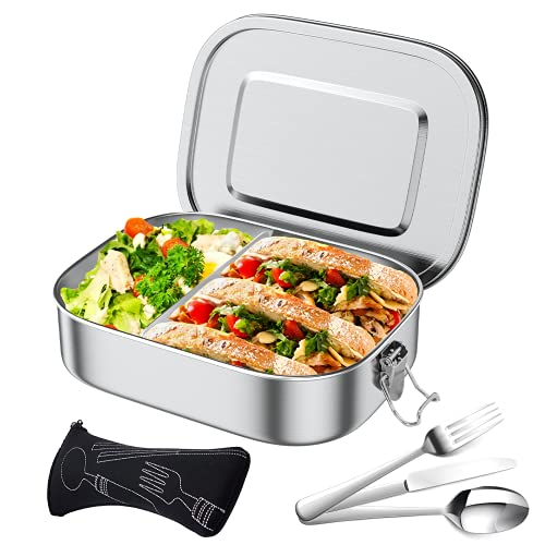 Premium Edelstahl Brotdose 1400ml Lunchbox Auslaufsicher Brotzeitbox Austauschdichtung Brotbüchse Trennwand Verbesserte Reinigen Brotbox für Kinder Erwachsene Wandern Schule Kindergarten