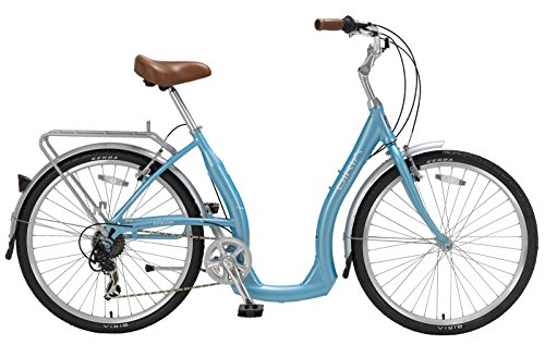 Cheapest Prices! BIRIA Easy Boarding 7 Speed Step Through Cruiser Bicycle Aqua Blue (S/15.5''/Rider ...
