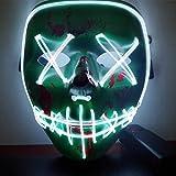 😈 Assolutamente sicuro 😈- La maschera è realizzata in PVC premium e filo di luce fredda El che non ha alcun danno UV, NESSUN effetto negativo sul corpo umano. Ambiente e non tossico. 😈 Maschera confortevole 😈- Comodo e traspirante, una fascia elastic...