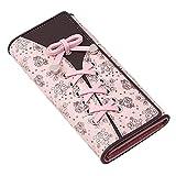 De Moda Útil Shoelace Style Bolsillo Larga Cartera PU Cuero Multifuncional Monedero Mujer Monedero Tarjeta Titulares Embrague Femenino Carteras Monedero Adecuado para Sacar (Color : Pink, Size : A)
