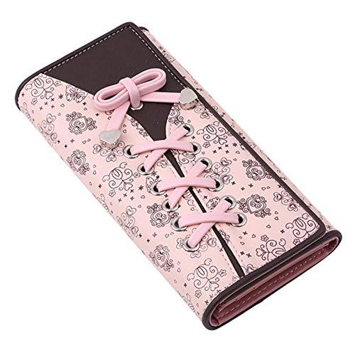 L-sister Cartera de retentiva de bolsillo estilo cordón de piel sintética multifuncional para mujer, cartera para tarjetas, carteras de embrague, estilo único (color: rosa, tamaño: A)