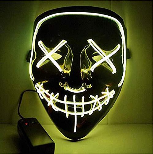 Kaliwa Purge Maske LED DJ Mask mit 3 Blitzmodi für Party Halloween Fasching Karneval Kostüm Cosplay Dekoration (gelb)