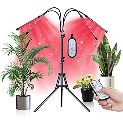 Grow Lights for Indoor Plants, Smileshe 80W 4-Heads LED Bulb Lamp with Remote Controll, Tripod Stand Adjustable 15-59 in, Full Spectrum 3 Modes 9 Dimmable Level