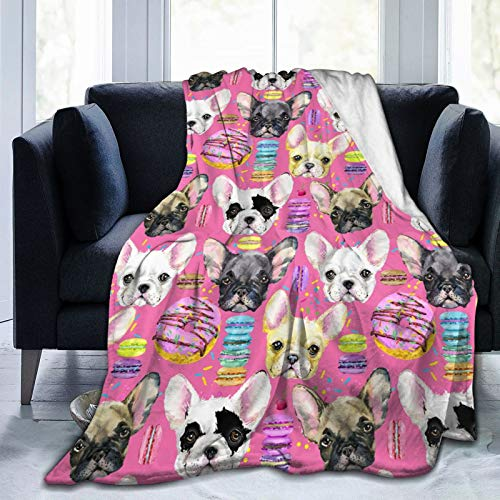 French Bulldog Puppy Dessert Fleece Blankets and Throws,Soft Warm Fleece Throw Blanket for Adults & Kids,Queen Size Blanket for Bedroom Office Travel Couch Sofa 50'X40'