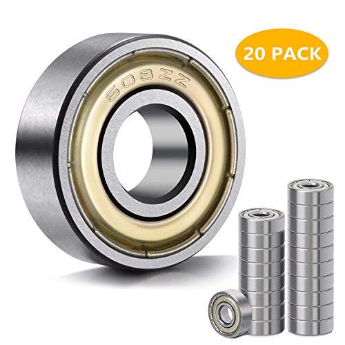 608 ZZ Kugellager, 20 STÜCKE 608zz Metall doppelt geschirmt Miniatur-Rillenskateboard-Kugella