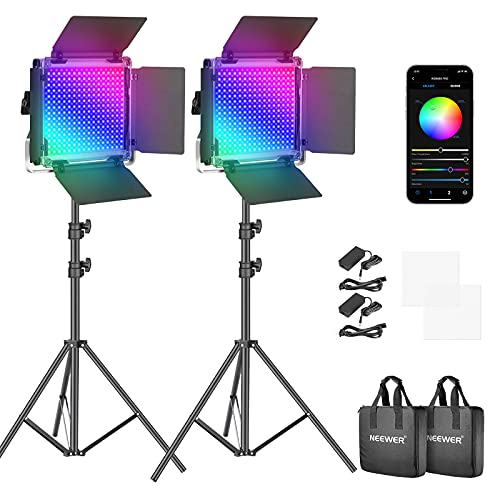Neewer RGB Led Video Light with APP Control, 360°Full Color, 50W 660 PRO Video Lighting Kit CRI 97+...