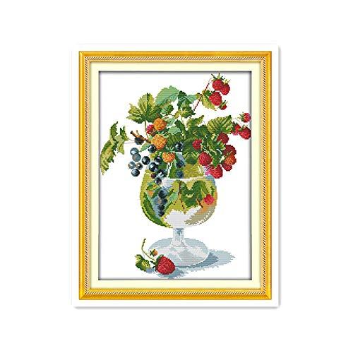 Fresas y copas de vino costura de bricolaje kits de costura hechos a mano simples y modernas artesanías de punto de cruz accesorios decorativos pintura-14CT sin imprimir
