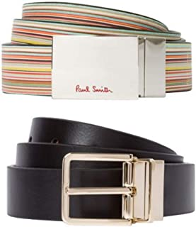 Paul Smith Men's Black Signature Stripe Leather Cut-To-Fit Reversible Belt Kit Size 40