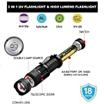 UV Flashlight,LED UV Torch 2 in 1 UV Black Light with High Lumen for Pets Urine & Stains & Bed Bug& Scorpions 14