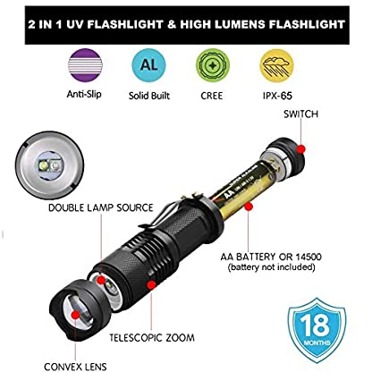 UV Flashlight,LED UV Torch 2 in 1 UV Black Light with High Lumen for Pets Urine & Stains & Bed Bug& Scorpions 7