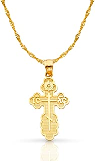14K Yellow Gold St. Olga Greek Orthodox Baptismal Cross Pendant with 1.2mm Singapore Chain Chain Necklace